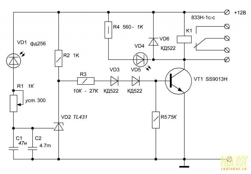 Принципиальная электрическая схема для фотодиодов