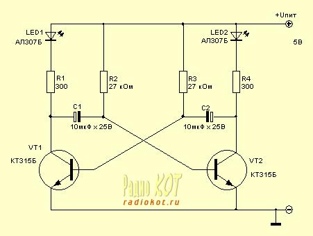 симметричный мультивибратор на транзисторе.